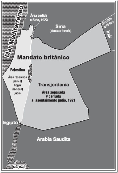 División hecha por Gran bretaña del Mandato 1921-1923